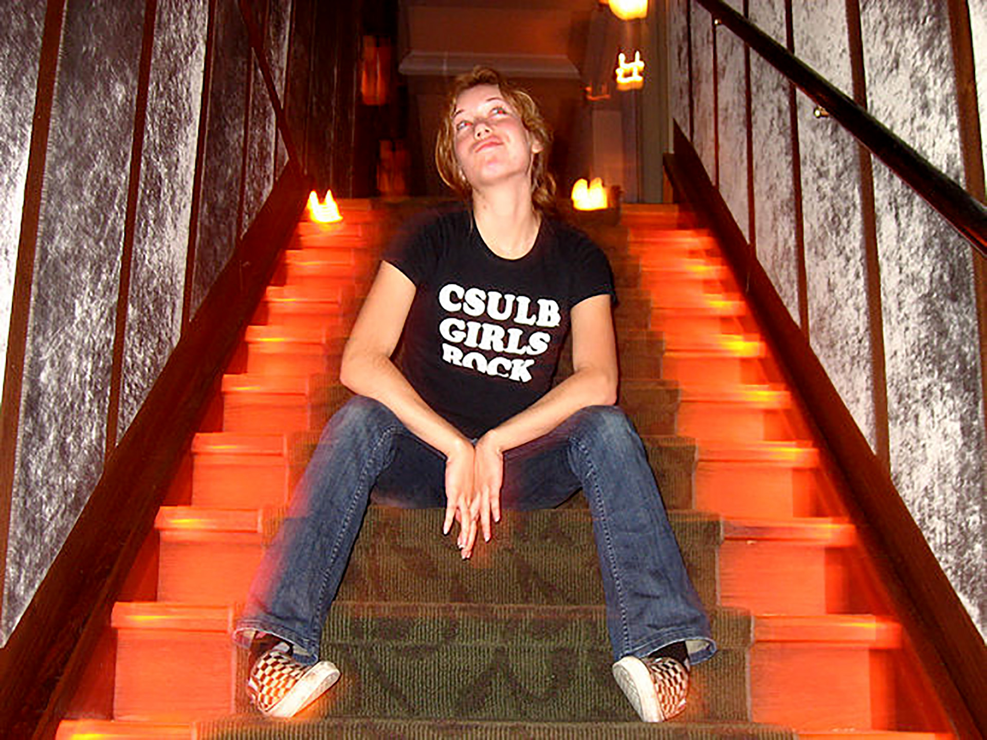 My former Student Assistant Christine Monet Johnson in the stairwell at the Museum of Jurassic Technology in Culver City, California