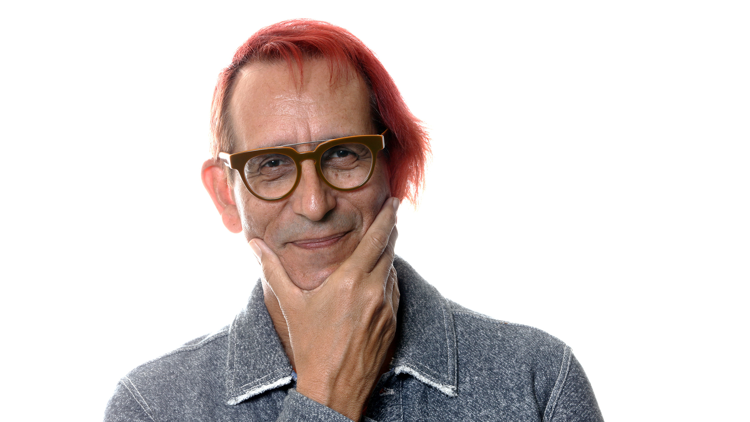 Glenn Zucman in a grey Diesel jacket and wearing SEE Mondo Mondini eyeglasses