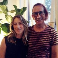 photo of Jessie Barr & Glenn Zucman in the lobby of Yogala in Echo Park, CA