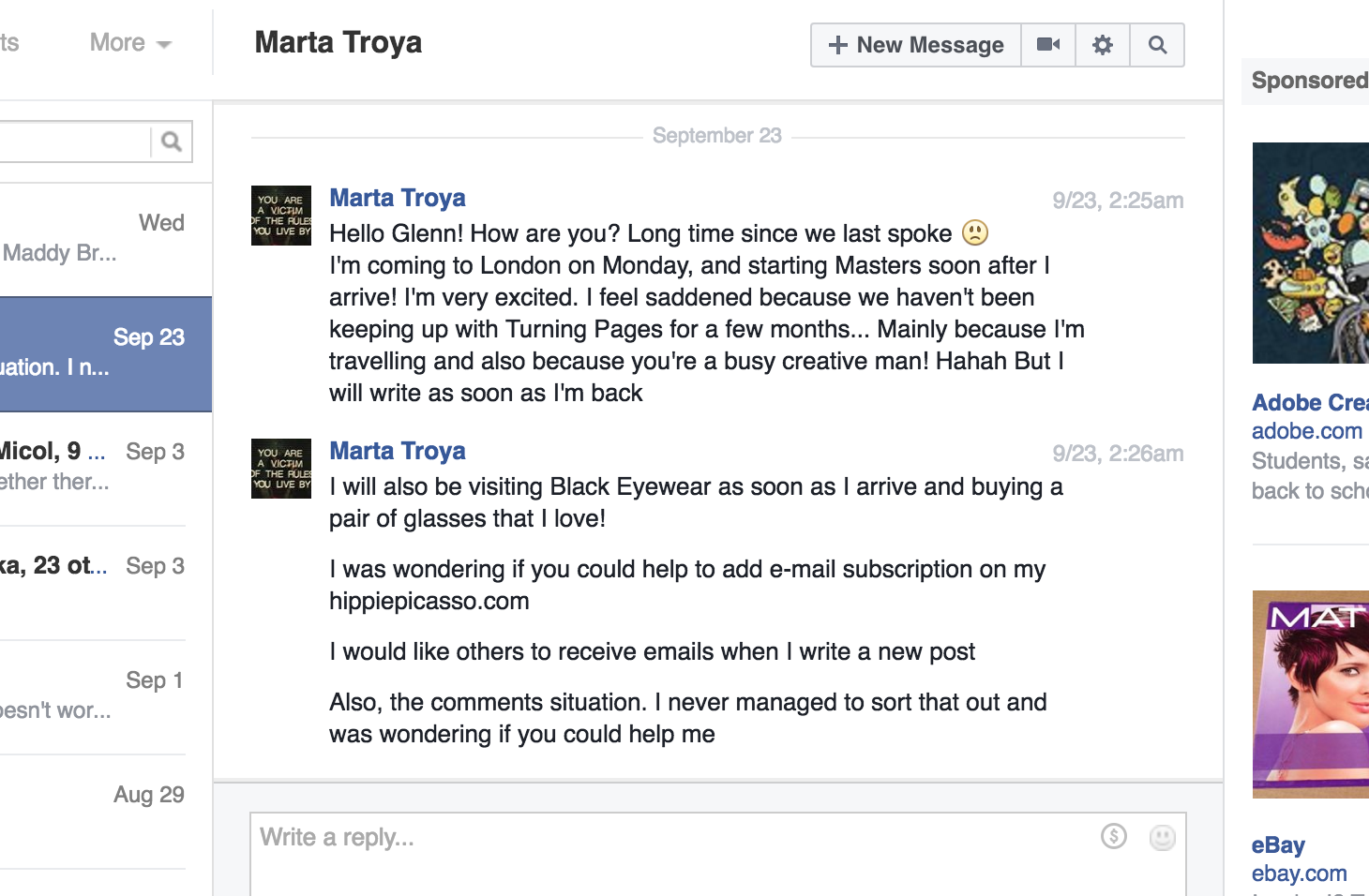 Screencap of Facebook message from Marta Troya to Glenn Zucman