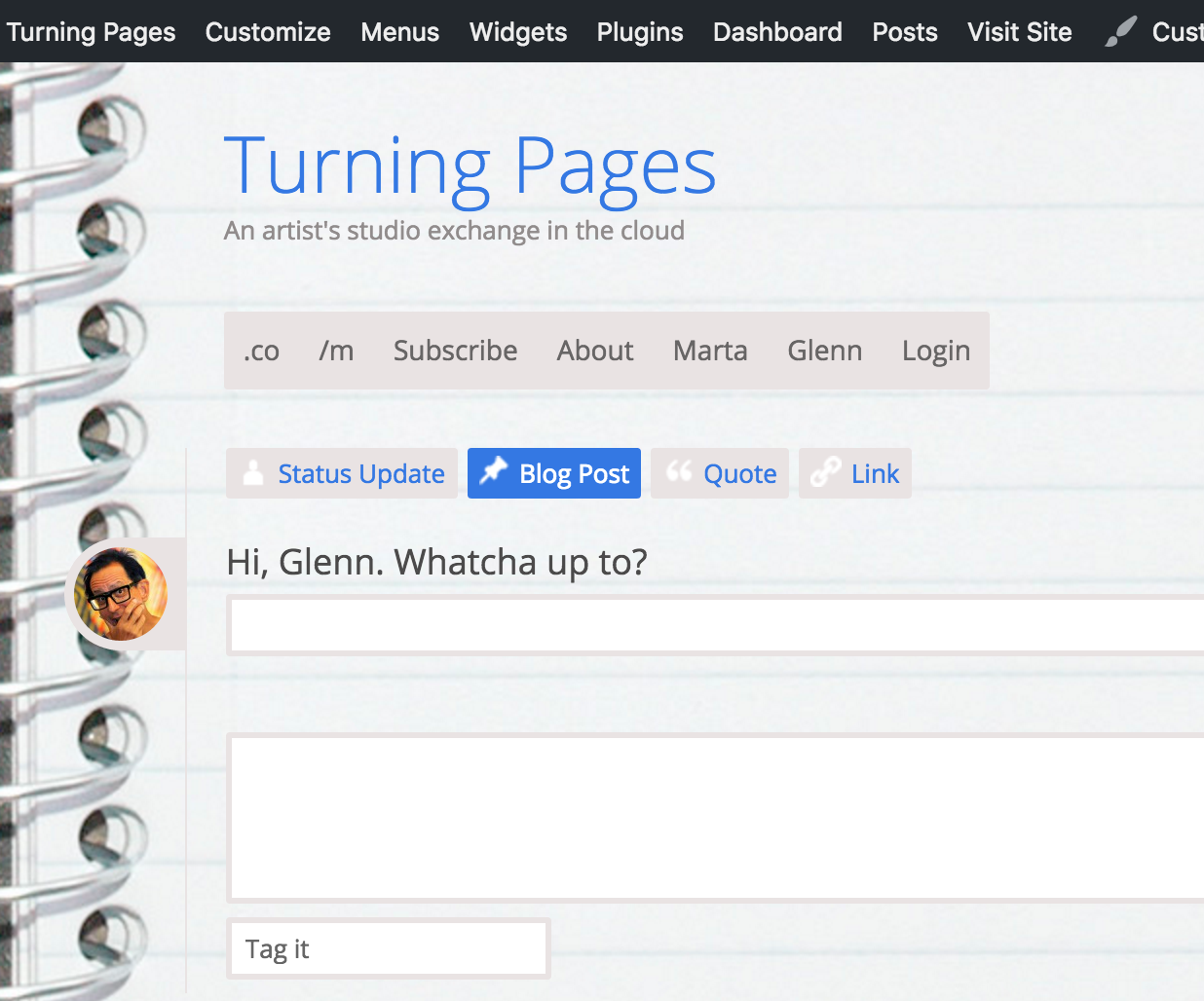 "screencap of the /m version of the Turning Pages website, featuring quick and friendly ""Front End Editing"""