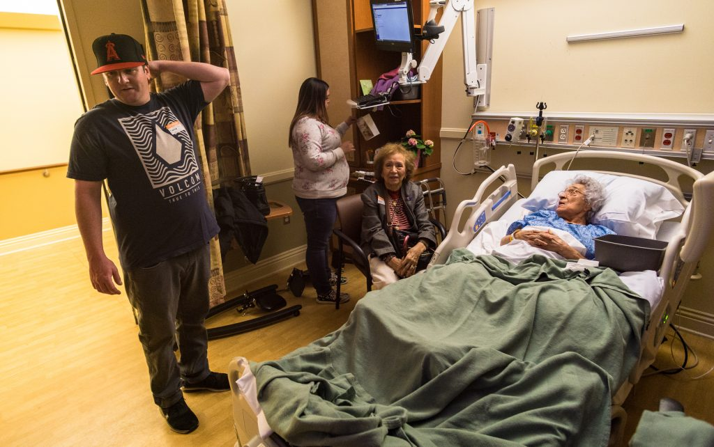 My cousins Ryan & Linda, and my mom, Sheila, visiting Aunt Mary at Casa Colina, a hospital/rehab facility in Pomona, CA
